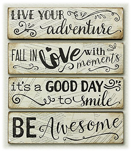 Wood Block Inspirational Wall Signs Desk Plaques – Set of 4