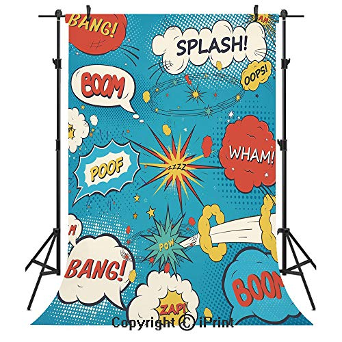 Superhero Photography Backdrops,Pop Art Style Comic Speech Bubbles Funny Humor Expressions Boom Splash Bang Decorative,Birthday Party Seamless Photo Studio Booth Background Banner 5x7ft,Blue Cream Red