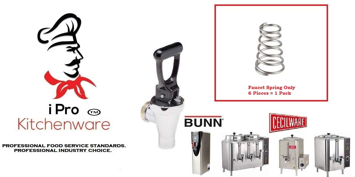 Faucet Spring for Coffee Urns, Coffee Servers, Iced Tea & Hot Water Dispensers (6 Qty of Package)