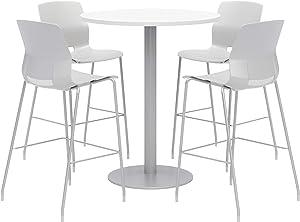 Olio Designs Dining Room Furniture, Designer White Table, Light Grey Stools