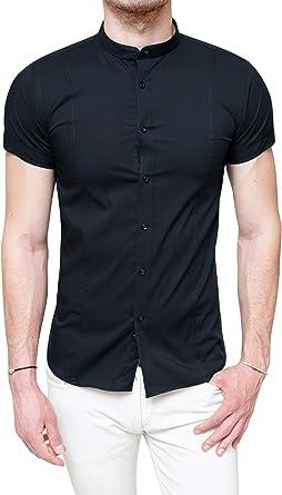 Evoga - Camisa de hombre Slim Fit, ajustada, elástica, manga corta informal: Amazon.es: Ropa y accesorios