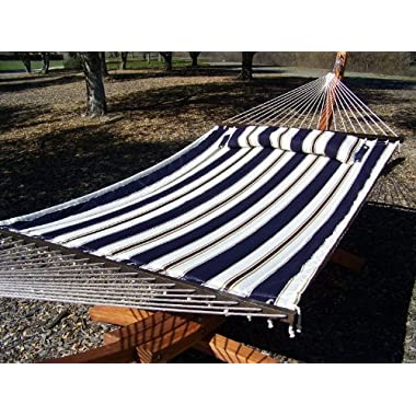 Petra Leisure Deluxe Quilted Elegant Blue Stripe, Double Padded Hammock Bed w/Pillow. 2 Person Bed. 425 LB Capacity. STAND NOT INCLUDED