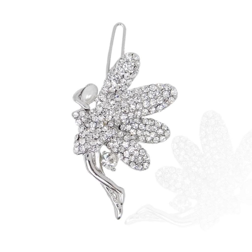 Ever Faith Wedding Silver-Tone Angel Wings Hair Clip Clear Austrian Crystal N00158-1