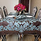 Ethomes Chenille Gold Thread Jacquard Weave Table Cloth Round Rectangle Square Gold with Multi-Tassels 47.2 x 70.8 inches