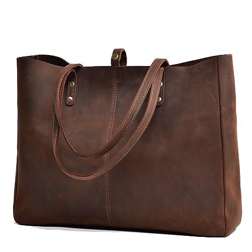 37995626fdc9 Jack Chris Vintage Genuine Leather Handbag Large Tote Bag for Women, MC509-5