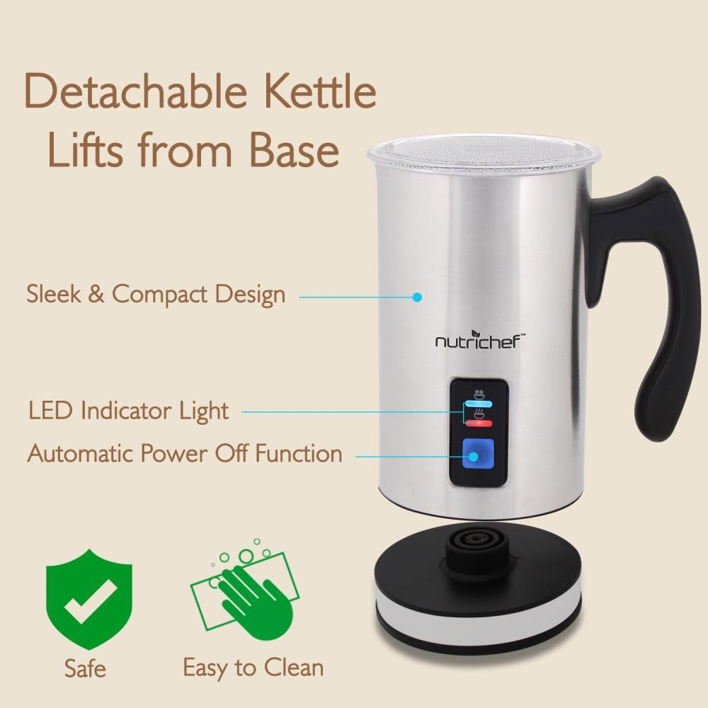 NutriChef Upgraded Dual Electric Milk Frother and Warmer - Sleek Compact Stainless Steel Steamer w/ Automatic Power Off Function and LED Light Indicator Perfect for Foamer and Creamy Latte - PKMFR14 by NutriChef (Image #4)