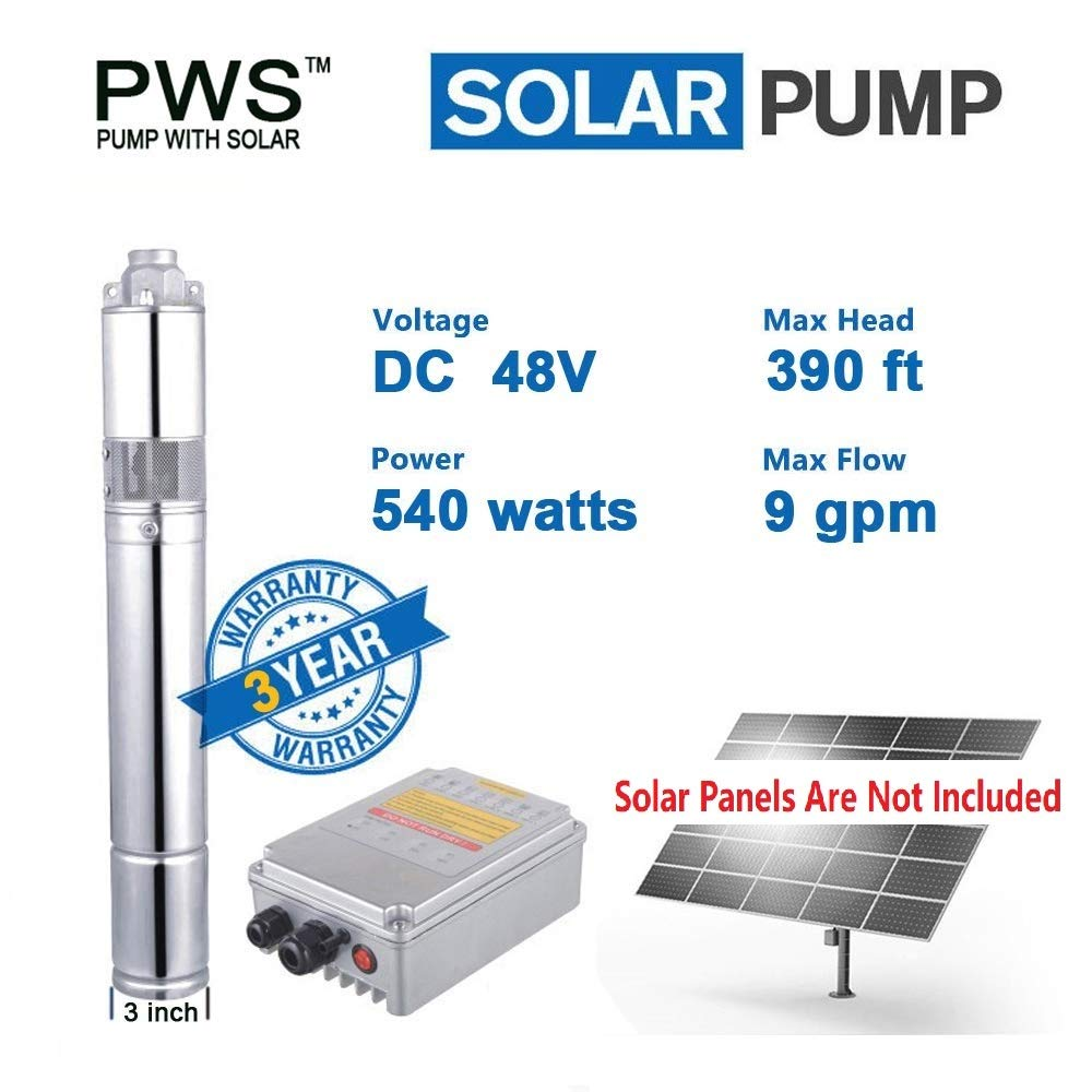 PWS 48V 540 Watts Stainless Steel 316 Submersible Solar Water Well Pump Kit, JS3-2.1-120 by PWS pump with solar