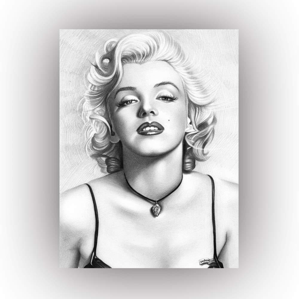 yhyxll Immagini murali su Tela HD Stampato Schizzo Poster in Bianco e Nero Moda Celebrit/à Marilyn Monroe Bella Signora Pittura Home Decor 30X40 CM