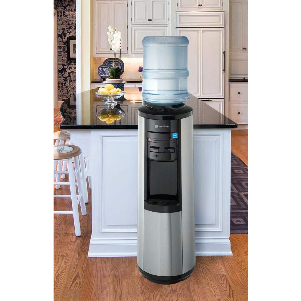 Glacier Bay 3 Gal or 5 Gal Hot, Room and Cold Water Dispenser Black and Stainless Steel
