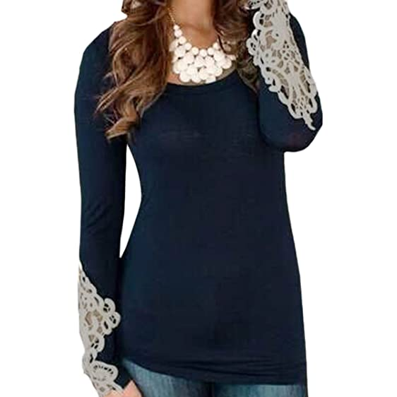 GigaMax(TM) Autumn Women Casual T-shirt Lace Crochet Hollow Long Sleeve Elegant