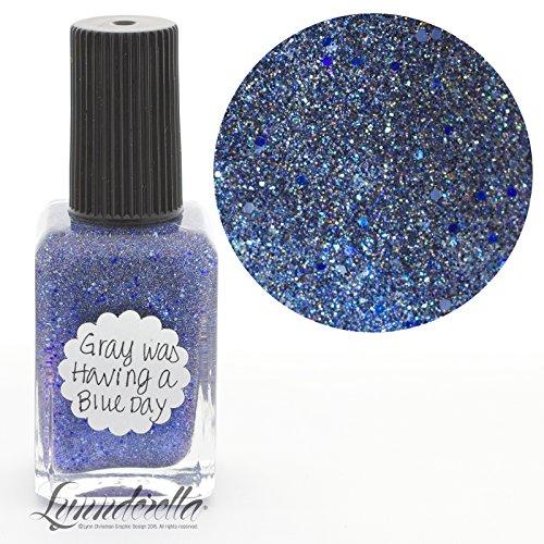 Lynnderella Periwinkle Micro Glitter Nail Polish-Gray Was Having a Blue Day
