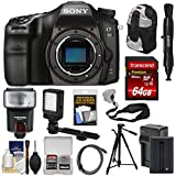 Sony Alpha A68 Digital SLR Camera Body 64GB Card + Battery & Charger + Backpack + Strap + Tripod + Flash + LED Light + Kit