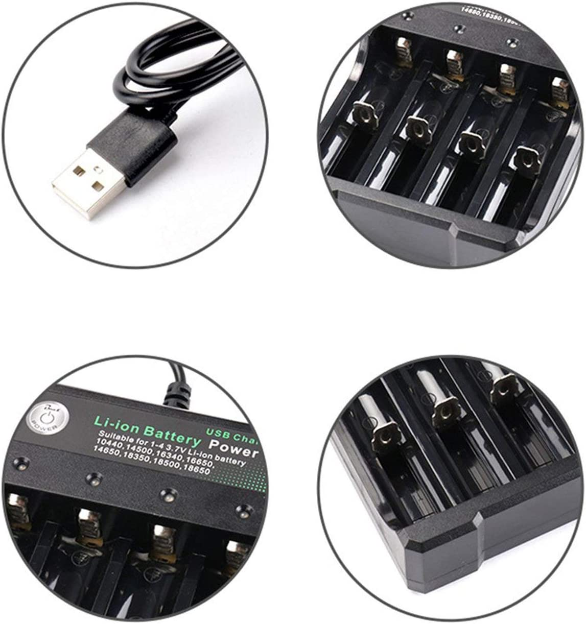 Battery Charger for 3.7V 18650 Batteries 4 Ports Battery Charger with USB Plug