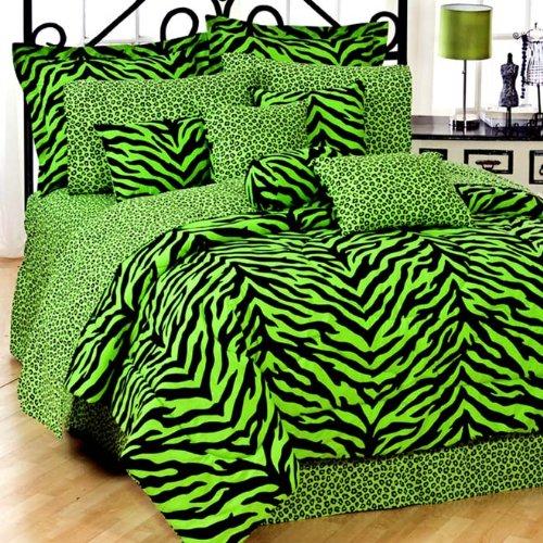 Kimlor Lime Green Zebra 8 Pc Full Comforter Set (Comforte...