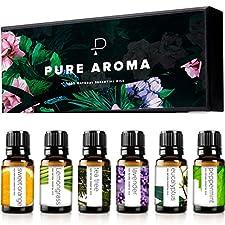 Essential oils by PURE AROMA 100% Pure Therapeutic Grade Oils kit- Top 6 Aromatherapy Oils Gift Set-6 Pack, 10ML(Eucalyptus, Lavender, Lemon grass, Orange, Peppermint, Tea Tree)
