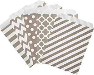 Foraineam 250-Pack Paper Candy Cookie Bags Buffet Treat Bag - Food Safe Biodegradable Favor Bags - Assorted 5 Designs