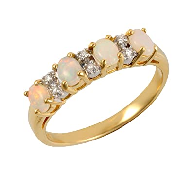 Ivy Gems 9ct Yellow Gold Three Fresh Water Pearl & Diamond Half Eternity Ring f5jQRIB
