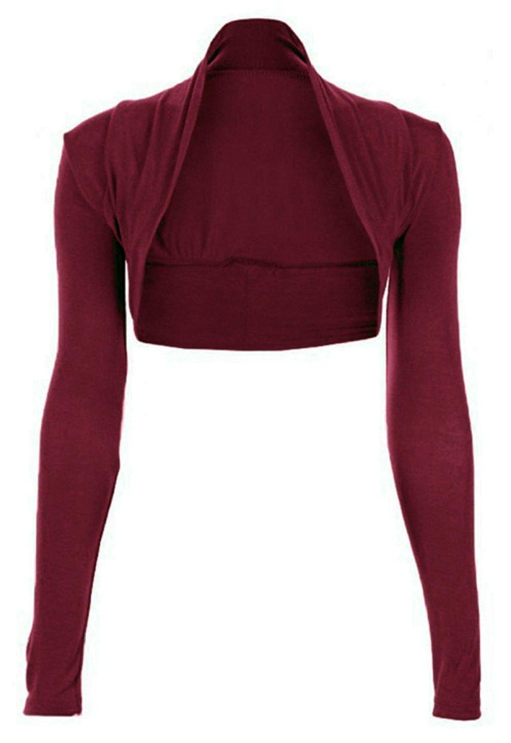 R KON Women's Long Sleeve Plain Bolero Shrugs Crop TOP
