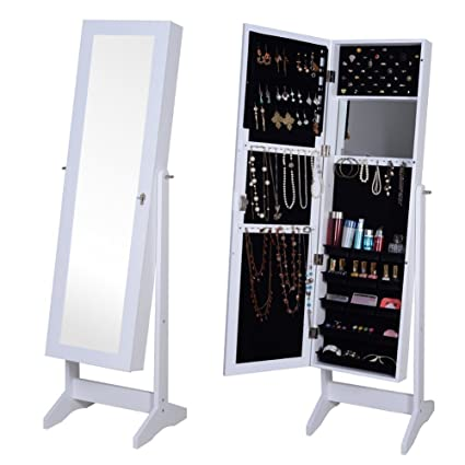 Amazoncom Organizedlife White Jewelry Armoire Mirrored Locking