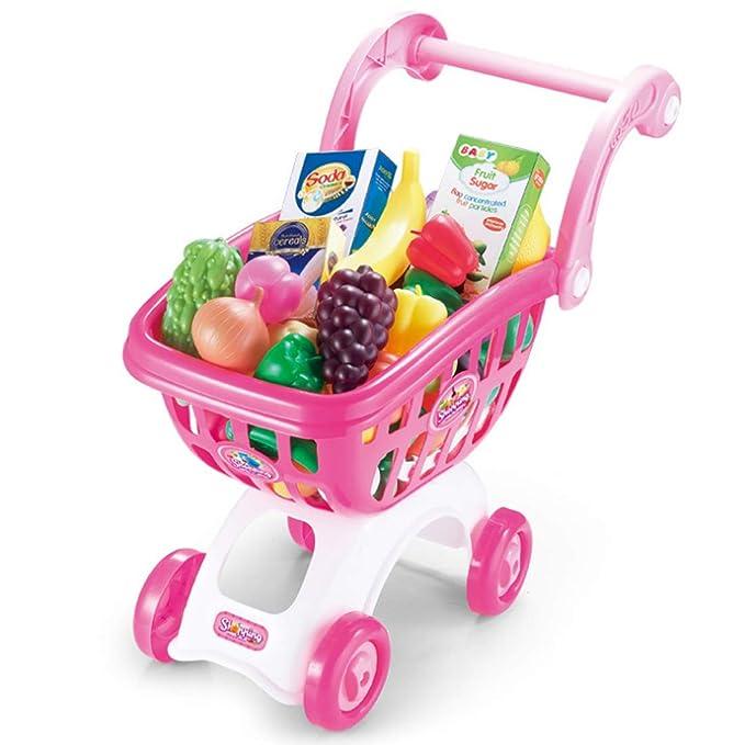 Yvsoo Supermercado de Juguetes,38Pcs Supermercado Infantil Tiendas Carrito Compra Juegos de Imitación para Niños (Rosa)