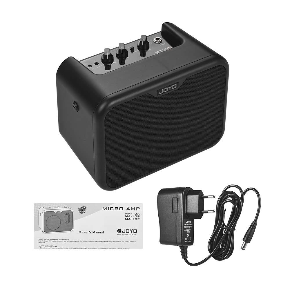 Muslady JOYO MA-10E Mini Altavoz Amplificador de Guitarra Eléctrica Portátil 10 Vatios Amperios OD/Canales Dobles Limpios con Adaptador de Corriente