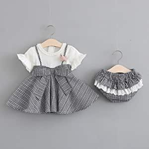 TZOU Girl Children Kids Short Sleeve Plaid Dress with Lovely Small Underwear Two Piece Suit Outfit Black 80cm