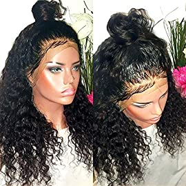 Lace Front Wigs Human Hair for Black Women Curly Hair Bleached Konts Brazilian Virgin Hair Lace Front Wigs Natural Hairline with Baby Hair(10″ 130 density Free Part)