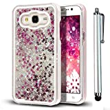 Samsung Galaxy Core Prime SM-G360F Creative Dynamic Case,Vandot Luxury Bling Shiny Sparkle Stars Quicksand Liquid Flowing Floating PC Hard Back Cover Crystal Clear Transparent Anti-scratch Protective Skin Shell+Stylus Pen-Silver