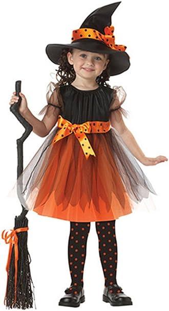 BOZEVON Disfraz Cosplay Infantil de Trajes Bruja Niñas Halloween ...