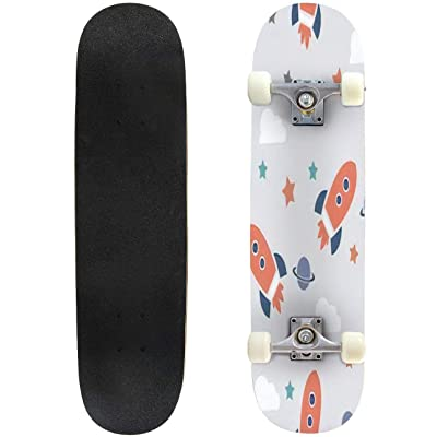 Classic Concave Skateboard Space Elements Seamless Pattern Space Background Space Doodle Longboard Maple Deck Extreme Sports and Outdoors Double Kick Trick for Beginners and Professionals : Sports & Outdoors