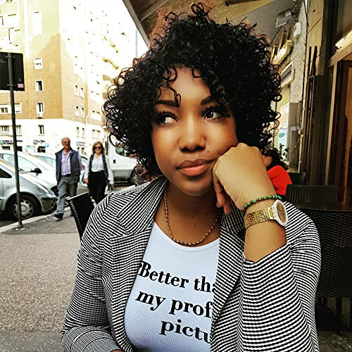 YAMI 8a Brazilian Wet and Wavy Human Hair Wigs, Water Wave Curly Short Hairstyles, 100% Unprocessed Virgin Remy Hair Jerry Curl Wig For Black Women (Curly Wig 8