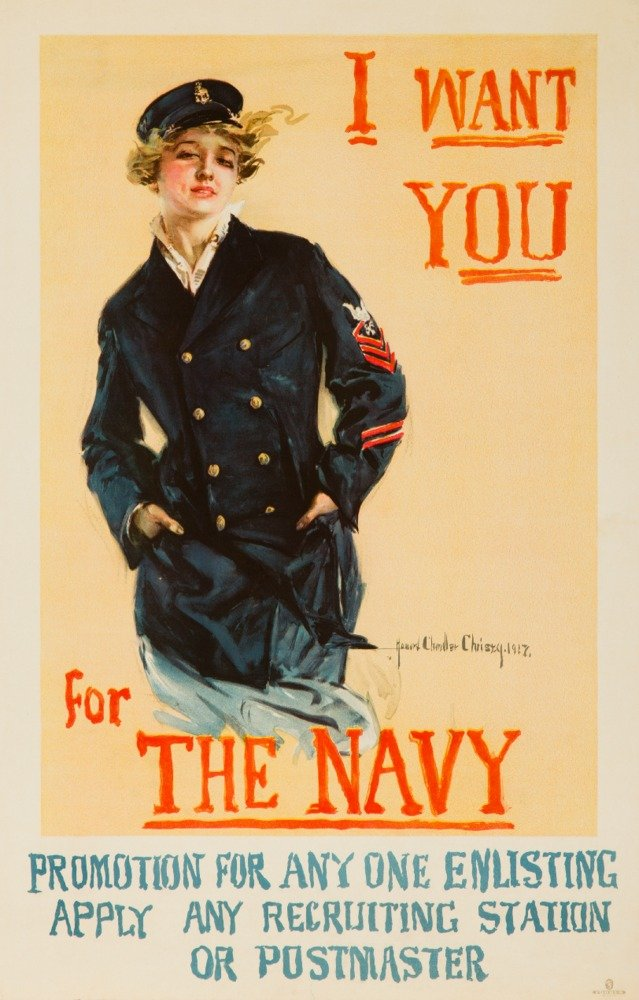 I Want You For the Navy Vintage Poster (artist: Christy, Howard Chandler) USA c. 1917 (24x36 Giclee Gallery Print, Wall Decor Travel Poster) by Lantern Press