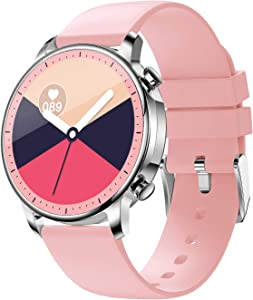 COLMI Smart Watch for Women Men,Waterproof Smartwatch with Heart Rate and Blood Pressure Monitor,Bluetooth Fitness Tracker Compatible with iPhone Andriod,Best Present for Couples (Pink)