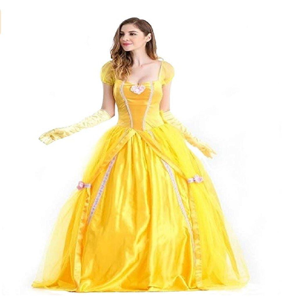 Amazon Com Peachi Belle Adult Princess Yellow Dress Costume For