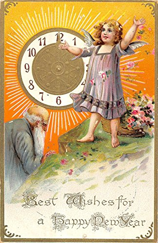 Happy New Year Greeting Cherub Clock And Old Man Design Antique Postcard V20239