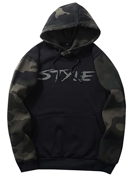 FEOYA Mens Graphic Hoodie Vintage Camo Sweaters Pure Cotton Printed  Sweatshirt Hoody Black M 3af3f781dee