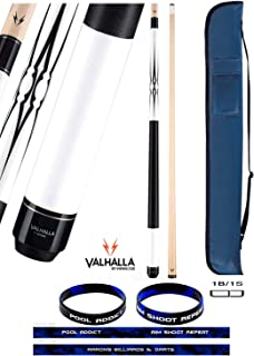 product image for Valhalla VA234 by Viking 2 Piece Pool Cue Stick 5 Point Transfers White Opaque Stain Nylon Wrap 18-21 oz. Plus Cue Case & Bracelet (White VA234, 18)