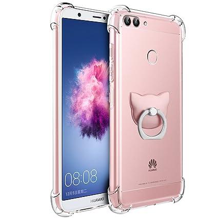 Huawei P Smart Funda, FoneExpert® Transparente Clear Carcasa Cover Case Funda de gel TPU silicona con anillo de apoyo de rotación de 360 ° Para Huawei ...