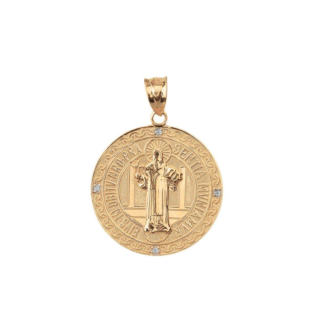 Medalla De San Benito Saint St Benedict 10k Yellow Gold Coin Pendant (1'')