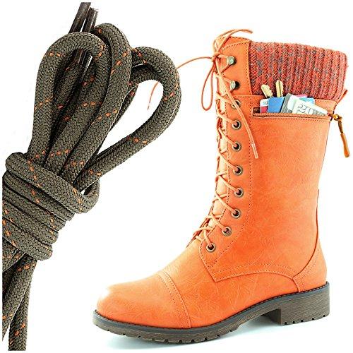 Dailyshoes Womens Style De Combat Lacets Cheville Bottine Bout Rond Knit Militaire Carte De Crédit Couteau Argent Portefeuilles De Poche, Olive Orange Orange Pu