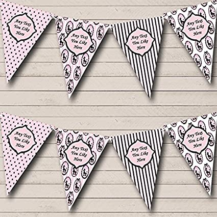 Paris Poodle Spots Black Pink French Personalised Birthday Party Bunting