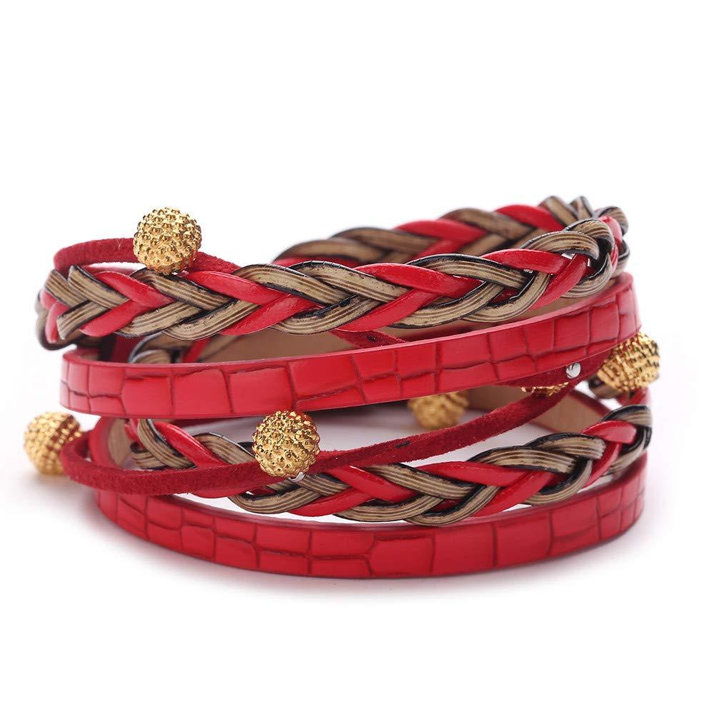 Women Creative Cross Weaving Adjustable Lava Rock Beads Charm Bracelets Gift for Girls Mens Teens Student Best Friend Forever(F)