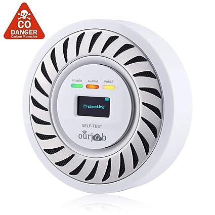 Detector de CO Alarma de monóxido de Carbono, Sensor electroquímico Batería de Litio Recargable CO