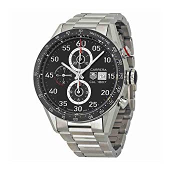 cd58b2551b600 Image Unavailable. Image not available for. Color  Tag Heuer Carrera Black  Dial Stainless Steel Automatic Chronograph Mens Watch ...
