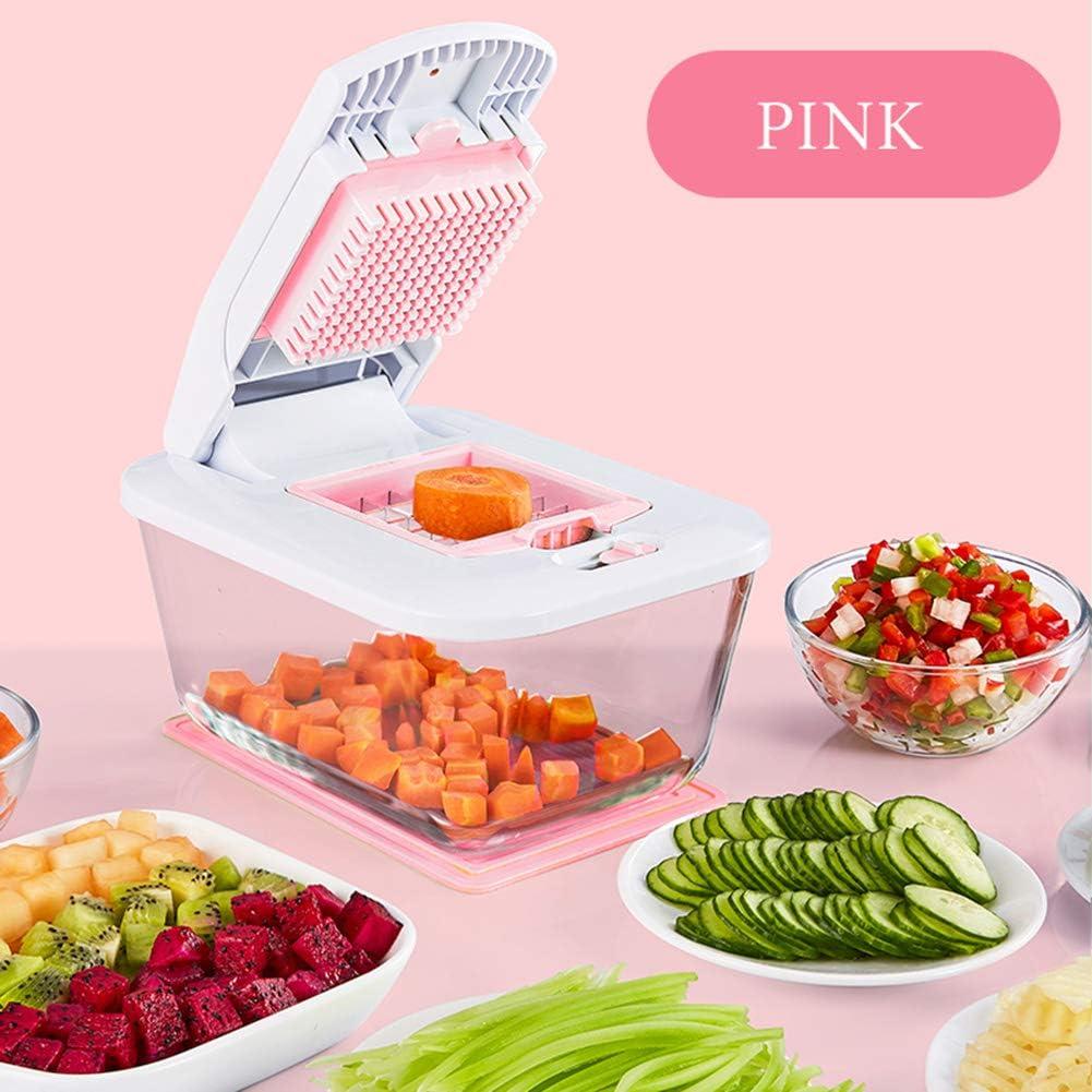 Cortador de verduras Manual de cebolla de ajo helicóptero cortador con 7 vegetariana helicóptero cortadora accesorios de cocina,Pink: Amazon.es: Hogar