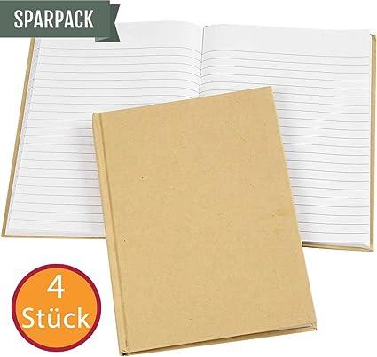 Pack de ahorro: cuaderno de notas, diario en formato vertical conocido, con sobre de papel natural grueso con superficie rugosa, DIN A5, 80 páginas vacías a rayas (80 g). 4 unidades, precios.: