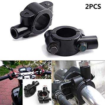 2Pcs Universal Motorrad Lenker Spiegelhalterung 10mm 7//8 Aluminium Clamp Schwarz Motorrad Lenkerspiegelhalterung