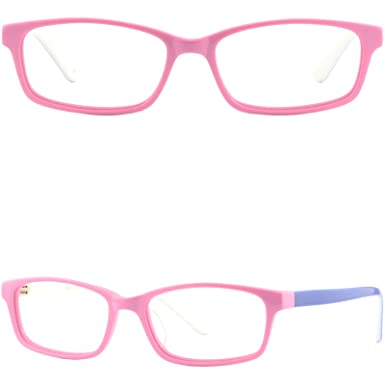 6096c033b74 Image Unavailable. Image not available for. Color  Rectangle Small Girls  Petite Women Plastic Frame Acetate Glasses Eyeglasses Pink