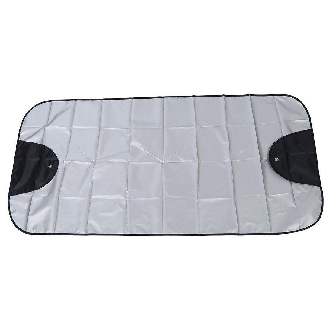 Cubierta del parabrisas del coche - TOOGOO(R) Cubierta del parabrisas del coche Sombra de sol protector contra el polvo escudo de hielo anti escarcha nieve Negro Plata 068417