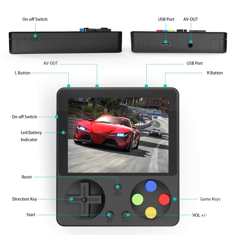 CHAONATECH Handheld Game Console, Portable Video Game 3 Inch HD Screen 333 Classic Games,Retro Game Console Can Play on TV, Good Gifts for Kids to Adult (Black) by CHAONATECH (Image #3)